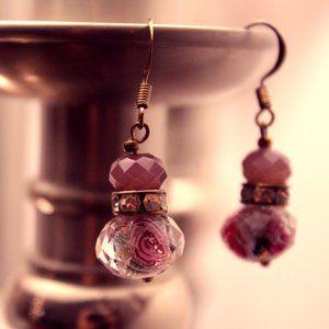 Lavender Rose Dangle Earrings